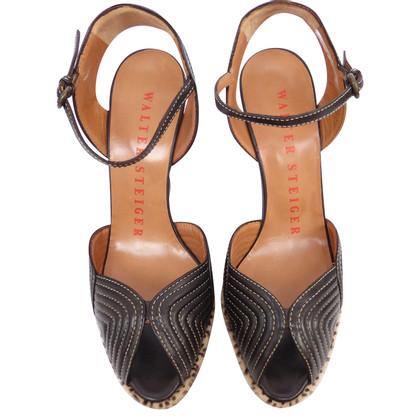 Walter Steiger Peep-toes with rabbit fur trim