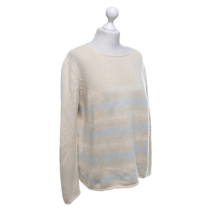 Brunello Cucinelli Cashmere sweater in cream / light blue