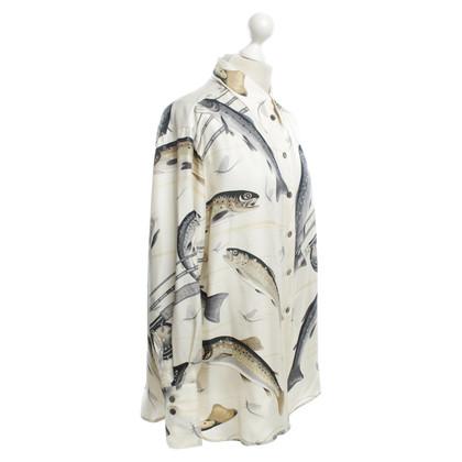 Hermès camicetta di seta con stampa