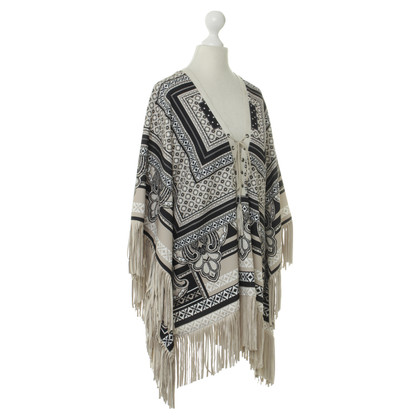 Hale Bob Patterned poncho with tassels