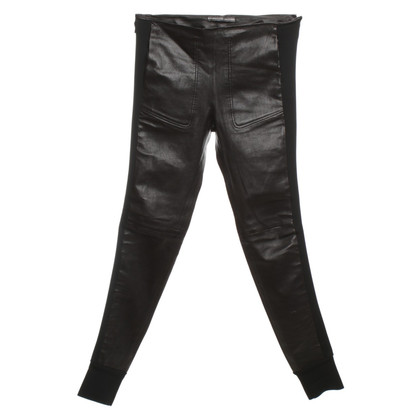 Balenciaga Leather pants with Jersey-details