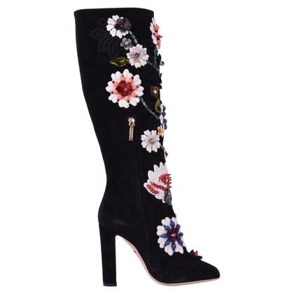 Dolce & Gabbana Wildlederstiefel mit Stickerei