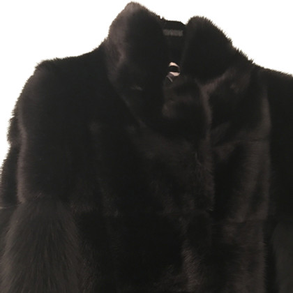 Simonetta Ravizza Giacca con pelliccia di volpe maniche di pelliccia di visone
