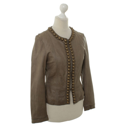 Golden Buckle Lederjacke in Khaki