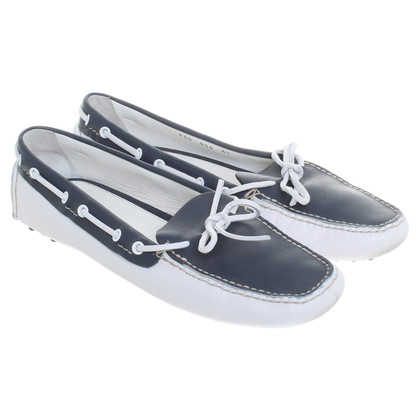 Car Shoe Loafer in Blau-Weiss