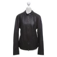Armani Jeans Leren jas in zwart