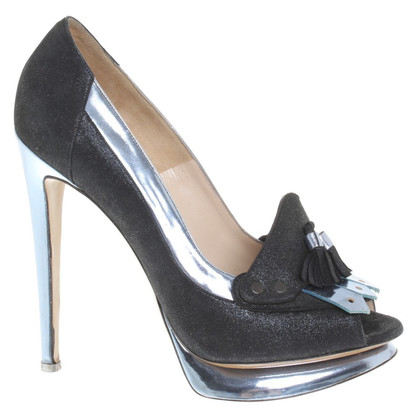 Nicholas Kirkwood Peeptoes in Blau/Metallic