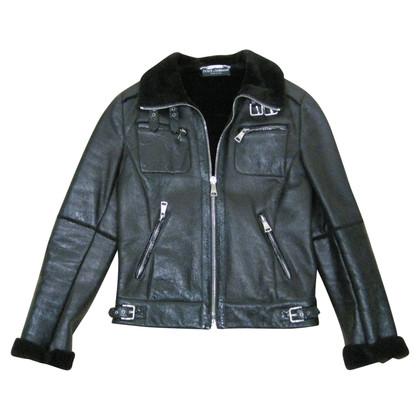 Dolce & Gabbana Biker leather jacket with lambskin