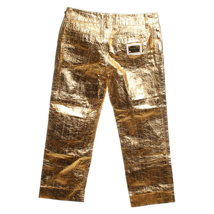 Dolce & Gabbana Goldfarbene Hose aus Aalleder