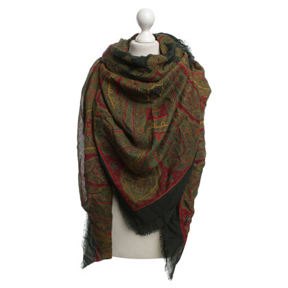 Yves Saint Laurent Kleurrijke handdoek met sier patroon van wol en zijde