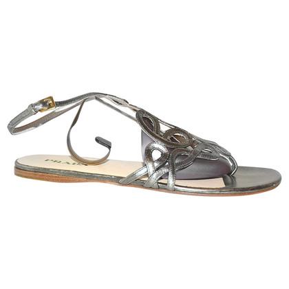 Prada Silberfarbene Sandalen