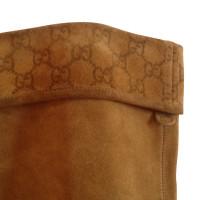 Gucci Stivali marroni con il modello Guccissima