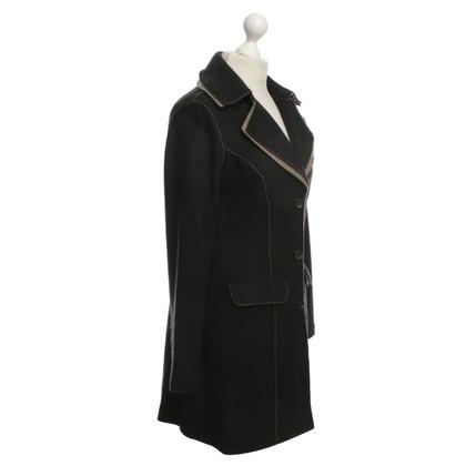 Marc Cain Coat in Black / Beige