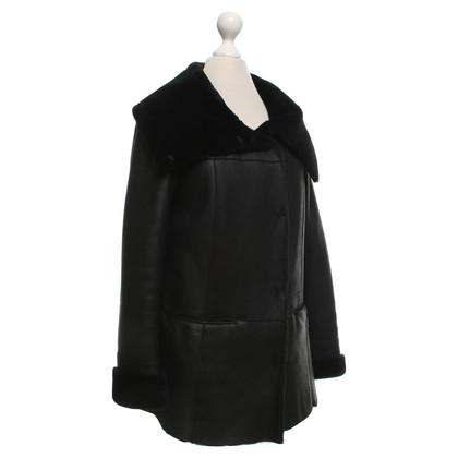 Autres marques Gant - Veste en peau d'agneau en noir