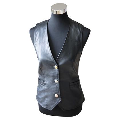 Versace veste en cuir noir