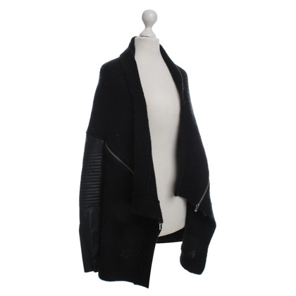 Maje Coarse knit jacket with Bikerdetails