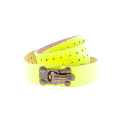 Matthew Williamson Cinture di pelle verniciata in giallo neon