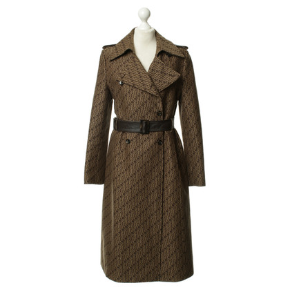 Carolina Herrera Brown trench coat with logo pattern