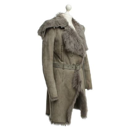 Patrizia Pepe Coat with leather in grey