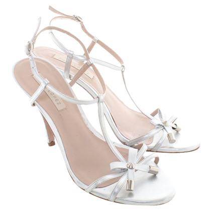 Pura Lopez Zilverkleurige sandalen