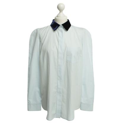 Louis Vuitton Luce blu camicia con colletto in velluto