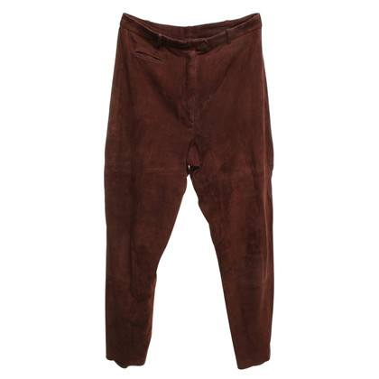 Marc Cain Wild leather-trousers in dark brown
