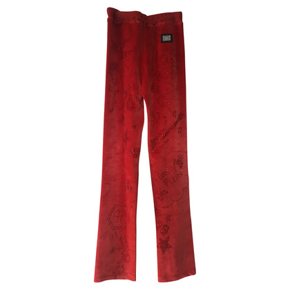 Philipp Plein Red velvet pants