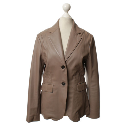 Stefanel Leather jacket in Taupe