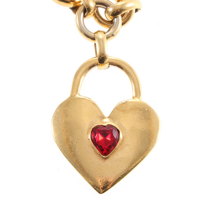 Chanel Heart and Red Stone necklace