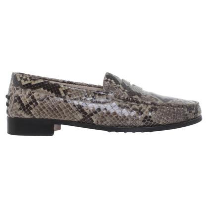 Tod's Loafer aus grünem Schlangenleder