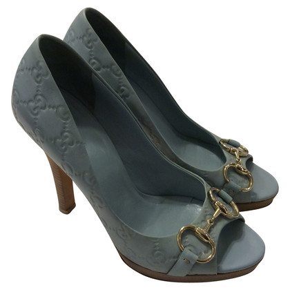 Gucci Plateau-Peeptoes in Blau