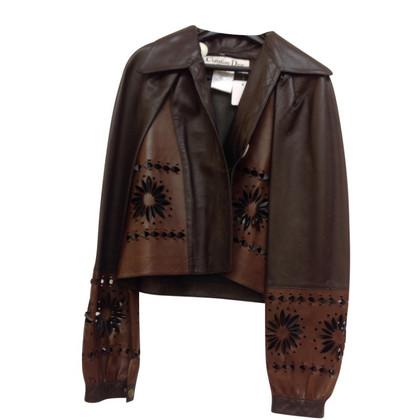 Christian Dior Lederen jas met uitsparingen