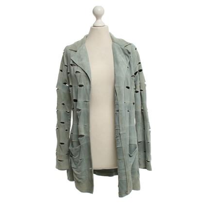 Roberto Cavalli Leather jacket in turquoise