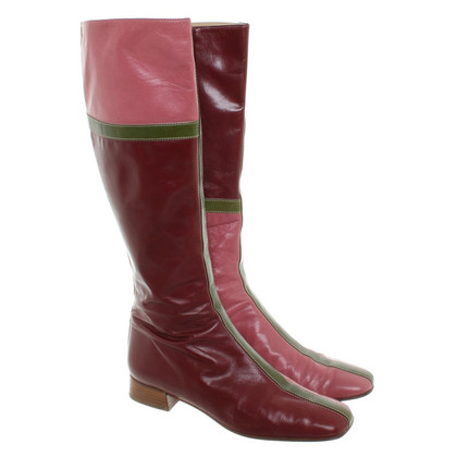 Valentino Leather boots in berry red