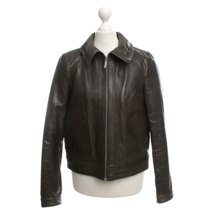 Moschino Love Olive leather jacket
