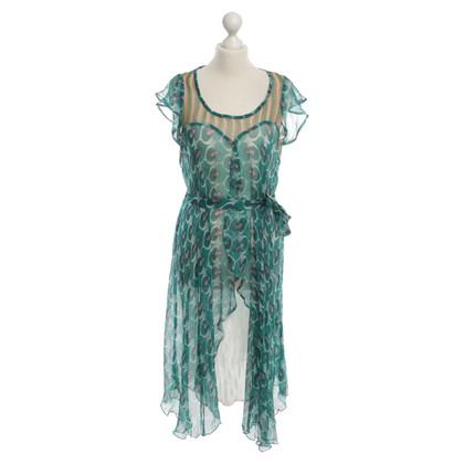 Antik Batik Seidenkleid mit Muster