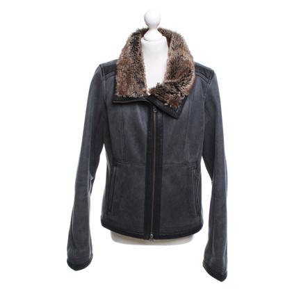 Armani Jeans Veste en cuir imitation en gris foncé