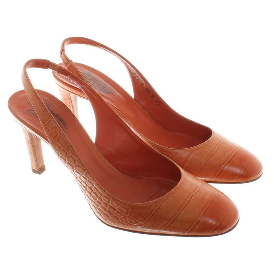 CHARLES & KEITH - Shoes. Orange loafers featuring a pointed toe and slingback dexterminduwi.gas with a metal buckle closure.