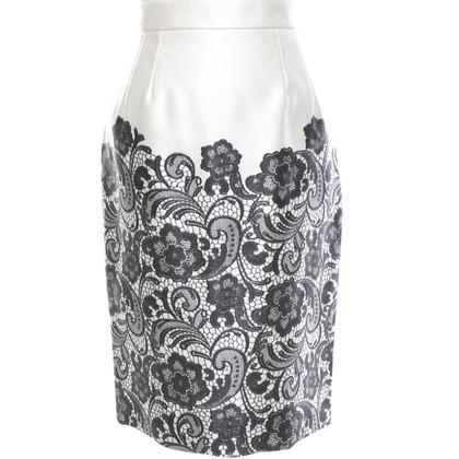Dolce & Gabbana Silk skirt in cream / black