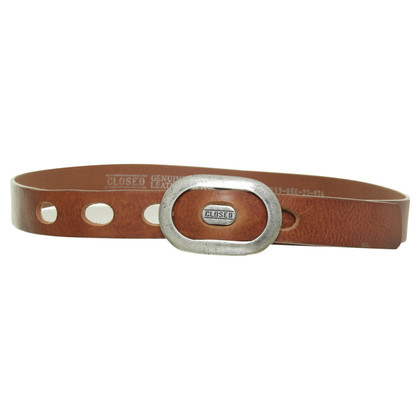 Closed Brown belt with label buckle