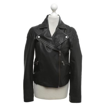 Marc by Marc Jacobs Leren jas in zwart