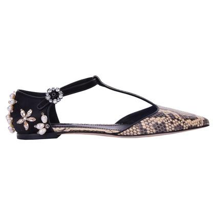 Dolce & Gabbana T-Strap-Ballerinas aus Schlangenleder