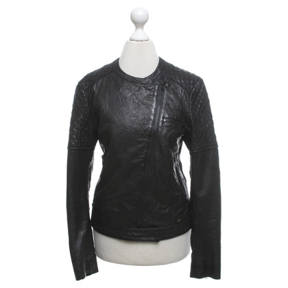 7 For All Mankind Lederjacke in Schwarz