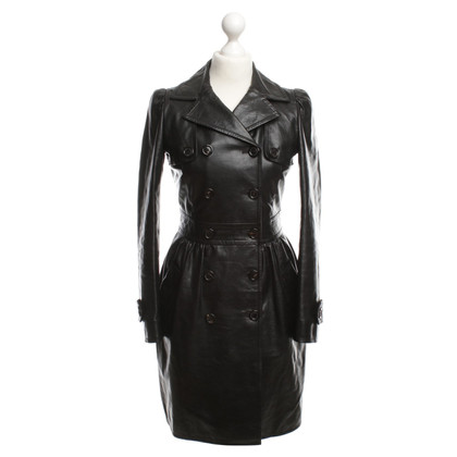Moschino Leather trench coat in black