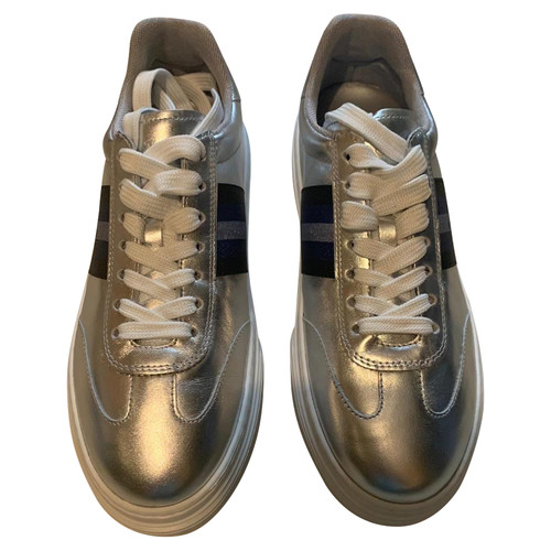 7e1f3c54453 Hogan Trainers Leather in Silvery - Second Hand Hogan Trainers ...