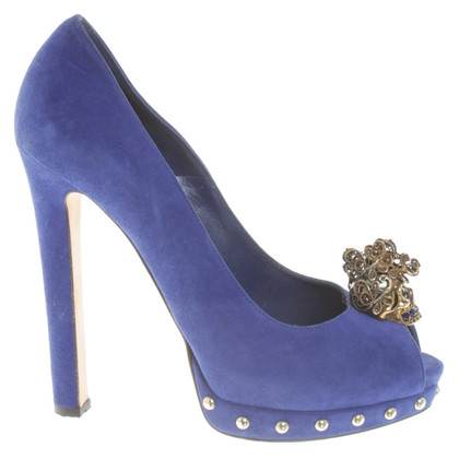 Alexander McQueen Peeptoes in Royal Blue