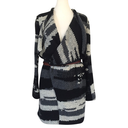 Bash Knitted coat with belt