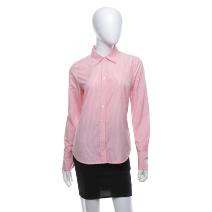 J. Crew Striped blouse in white / coral red