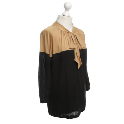 René Lezard Top in zwart / Beige