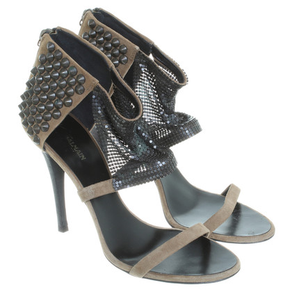 Balmain Wildleder-Sandalen mit Nieten